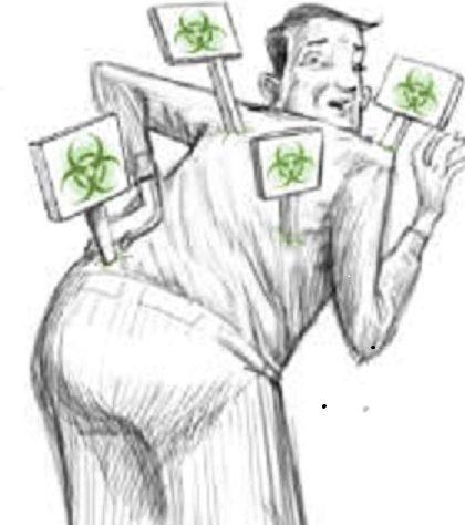 На картинке человек наклонился и повернулся, и несколько знаков ударили ему в спину. Знаки имеют на себе символы токсических отходов. Это демонстрация того факта, что триггерные точки являются «токсичными».